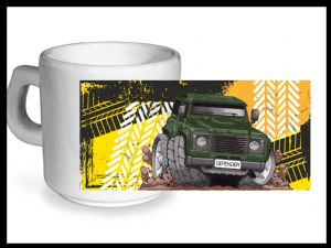 Koolart TYRE TRAX 4x4 Design For Green Land Rover Defender - Ceramic Tea Or Coffee Mug